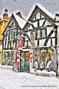 Half timbered building in snow